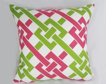 Decorative Pillow Cushion Cover - Accent Pillow - Throw Pillow - Duralee - Pink/Green - Trellis - Lattice - 20 x 20 inch