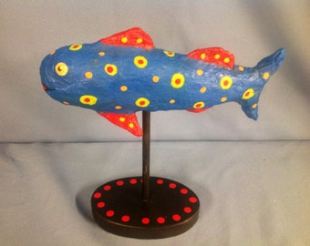 Paper mâché whimsical fish sculpture