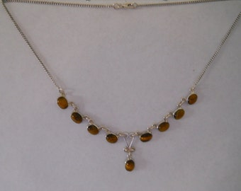 Sterling Silver Necklace With Tiger Eye Stones