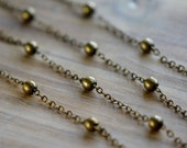 Brass Bead Chain Antique Bronze 1.5mm Linked Chain w/ 4mm Round Metal Fixed Beads Bubble Bead Vintage Style Jewelry Making Supplies (EA009)
