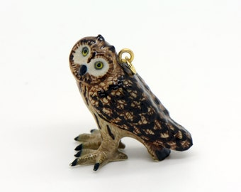 1 - Porcelain Short-eared Owl Pendant Hand Painted Glaze Ceramic Animal Small Ceramic Bird Bead Jewelry Supplies Little Critterz (CA260)