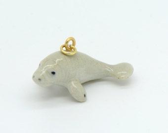 1 - Porcelain Manatee Pendant Hand Painted Glaze Ceramic Animal Small Ceramic Manatee Bead Jewelry Supplies Little Critterz (CA101)