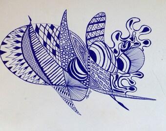 Original Blue Ink pen doodle drawing 9