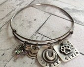 Custom Hand Stamped Personalized Horse and Dog Themed Solid Sterling Silver Expandable Bracelet