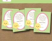 Printable Kids Easter Card | Easter Chick Card | DIY PRINTABLE | Scripture, Bible Verse, Easter Cards for Girls | 1 John 4:14 Printable
