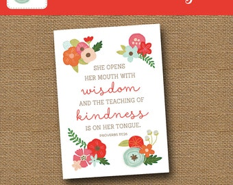 Printable Mother's Day Card | Floral Mom Card | Scripture, Bible Verse Card | DIY PRINTABLE | Proverbs 31 Card For Moms | Instant Download