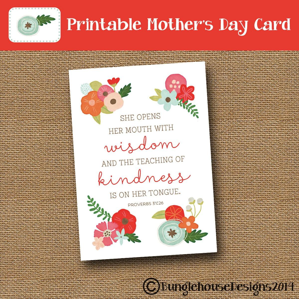 printable mother 39 s day card floral mom card scripture. Black Bedroom Furniture Sets. Home Design Ideas