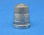 "Antique "" H.G.&S."" Sterling Silver Thimble - James Walker London Jeweller"