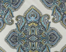Teal, LIme, Turquoise, Blue and Ivory Paisley Pillow Covers in Claridge Fabric