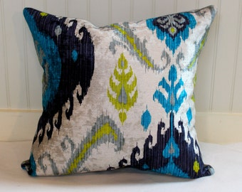 IN STOCK / Blue, Citrine and Grey Velvet Ikat Pillow Cover / 18 X 18 / Designer Pillow