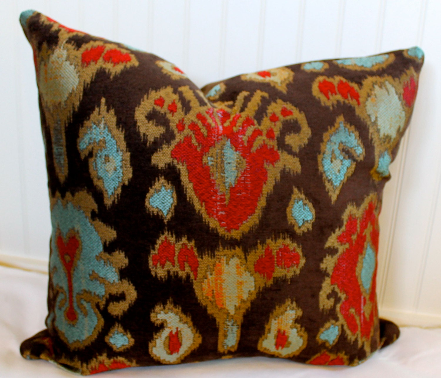 brown red turquoise and tan ikat pillow cover by stitchandbrush. Black Bedroom Furniture Sets. Home Design Ideas