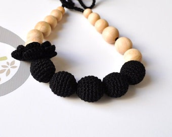 Total black Nursing Necklace/Teething Necklace by SimplyaCircle-Breastfeeding Necklace-Eco-Friendly-Mother's day