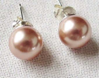 Rose Gold 8mm Glass Pearl Stud Earrings with Sterling Silver Posts and Earnuts