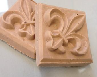 Milk & Honey Almond , Peppermint , Sandlewood Fleur de lis  goat milk soap set