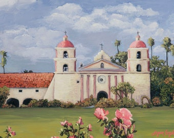 Santa Barbara Mission,  Gallery Wrap Canvas, Print with beveled double mat in several sizes.  An unforgettable rose garden