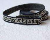 16 mm navy blue Jacquard Border, Embroidered trim, Sewing ribbon, Greek key Jacquard trim, Woven Tape, Craft border, ribbon per yard