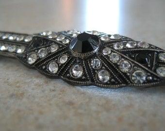 Vintage silver bar brooch.  Marcasites, onyx black stones and rhinestones.