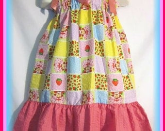 Strawberry Shortcake Boutique Pillowcase Dress w/ Solid Pink Layer Toddlers & Girls