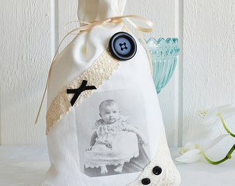 Favor fabric bag, vintage baby image,goth , victorian,  sachet bag, fabric gift wap