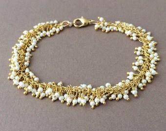 Gold White Fringe Beaded Bracelet