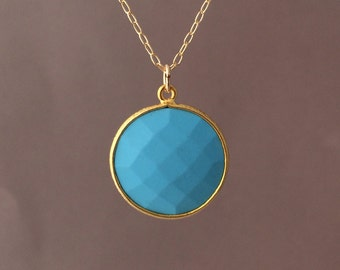 MEDIUM Gold Blue Turquoise Circle Necklace Long or Short
