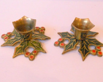 Vintage Brass Candle Holders Christmas Holly Holiday Decor Made in India Set of 2