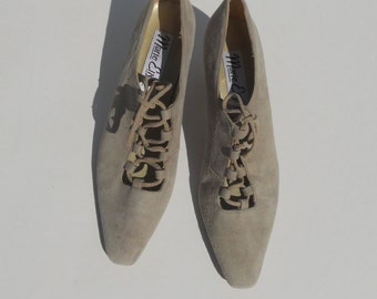 Vintage Suede Shoes Lace up Heels Women's Beige Gray Pump