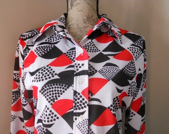 Vintage 70's Blouse Womens Graphic Top Polyester Retro Semi-Sheer Red White and Blue Patriotic Graphic Print Hipster