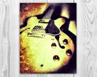 Music Print .Gibson 335. Guitar. Instrument. Rock and Roll. Wall Art. Photography. 8x10