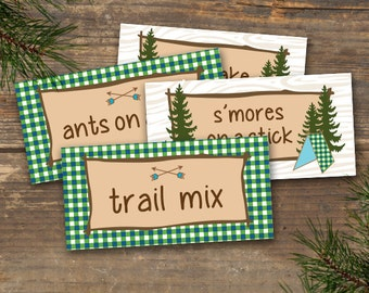 Camp Theme Menu Tent Cards Printable