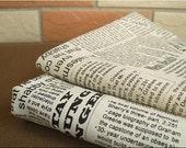 Half Meter of Cotton Linen Fabric - Newspaper black combo