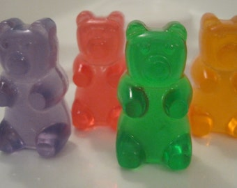 4 Transparent Candy Bear Soaps