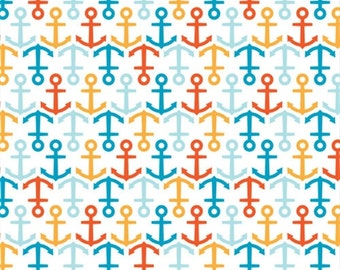 Anchors Away Nautical Print  - Marine Too by Dan Stiles for Birch Organic Fabrics - 1/2 yard, Additional Available
