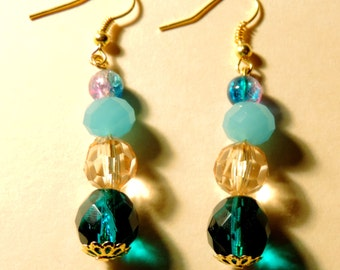 Blue/Pink Glass  Beaded Dangle Earrings #3