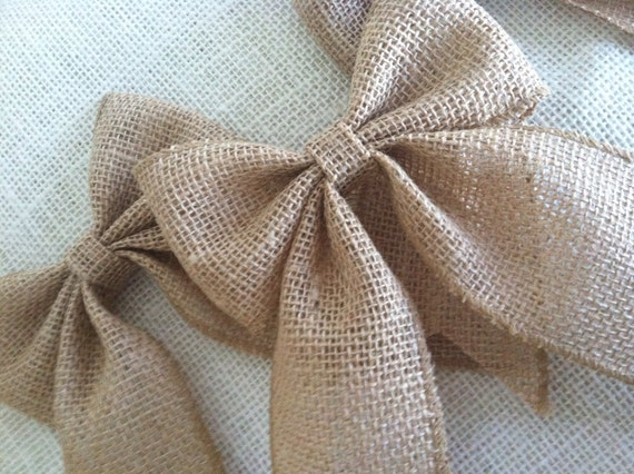 Small Burlap Bows for Ornaments, Packages and Decor, Set of Two
