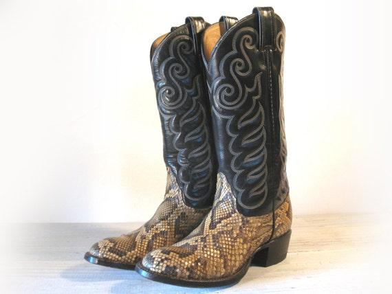 Vintage Cowboy Boots TONY LAMA Python Snakeskin & by EllumBranch