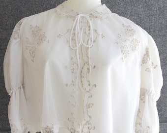 Vintage White Bed Jacket Blouse with Peter Pan Collar