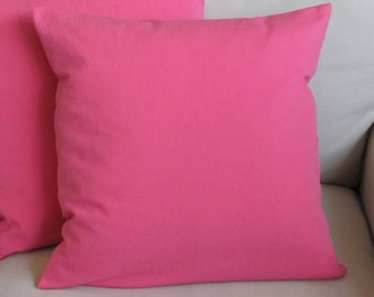 20 inch square bubblegum pink cotton duck pillow covers