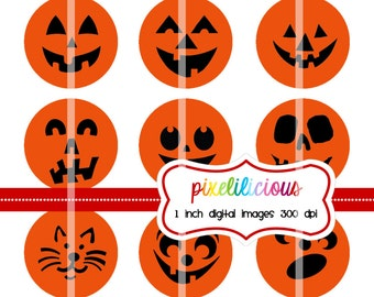 Halloween Bottle Cap Image Sheet - Instant Download - Pumpkin Faces -  1 Inch Digital Collage - Buy 2 Get 1 Free