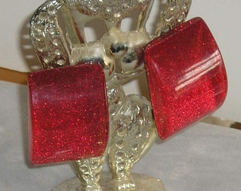 Lucite Glitter Clip Earrings Mod See Through Sides Hot Pink