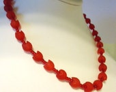 Red Plastic Tulip and Glass Rocaille Necklace Approx 18 inches by JulieDeeleyJewellery on Etsy