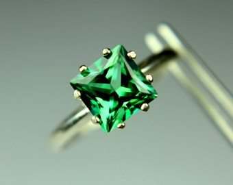 Bold Emerald Green CZ Princess in Sterling Silver Ring