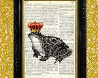 THE FROG PRINCE Dictionary Print Upcycled Book Page Art Print Recycled Dictionary Page Frog with Crown