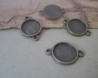 30pcs 12mm Antique Bronze Round Cabochon Pendant Base