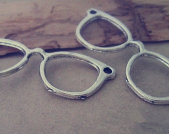 6pcs  Antique Silver GLASSES Pendant Charms 19mmx55mm