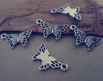 50pcs Antique Silver butterfly Charms pendant  11mmx18mm