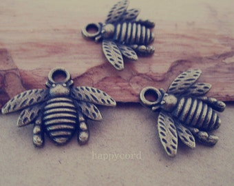 30pcs Antique Bronze bees pendant Charms 16mmx21mm