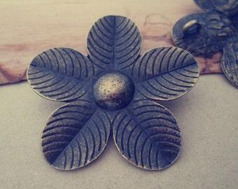 5pcs  Antique Bronze flowers pendant charm 50mm