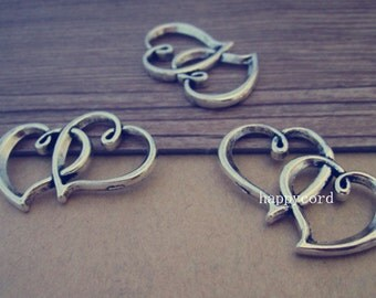 14pcs  Antique silver  Double sided Peach heart Charms pendant 25mmx31mm