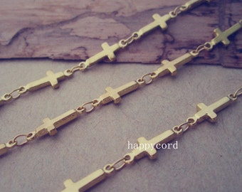 5m(16feet)  5mmx13mm gold color (copper ) cross shape chains